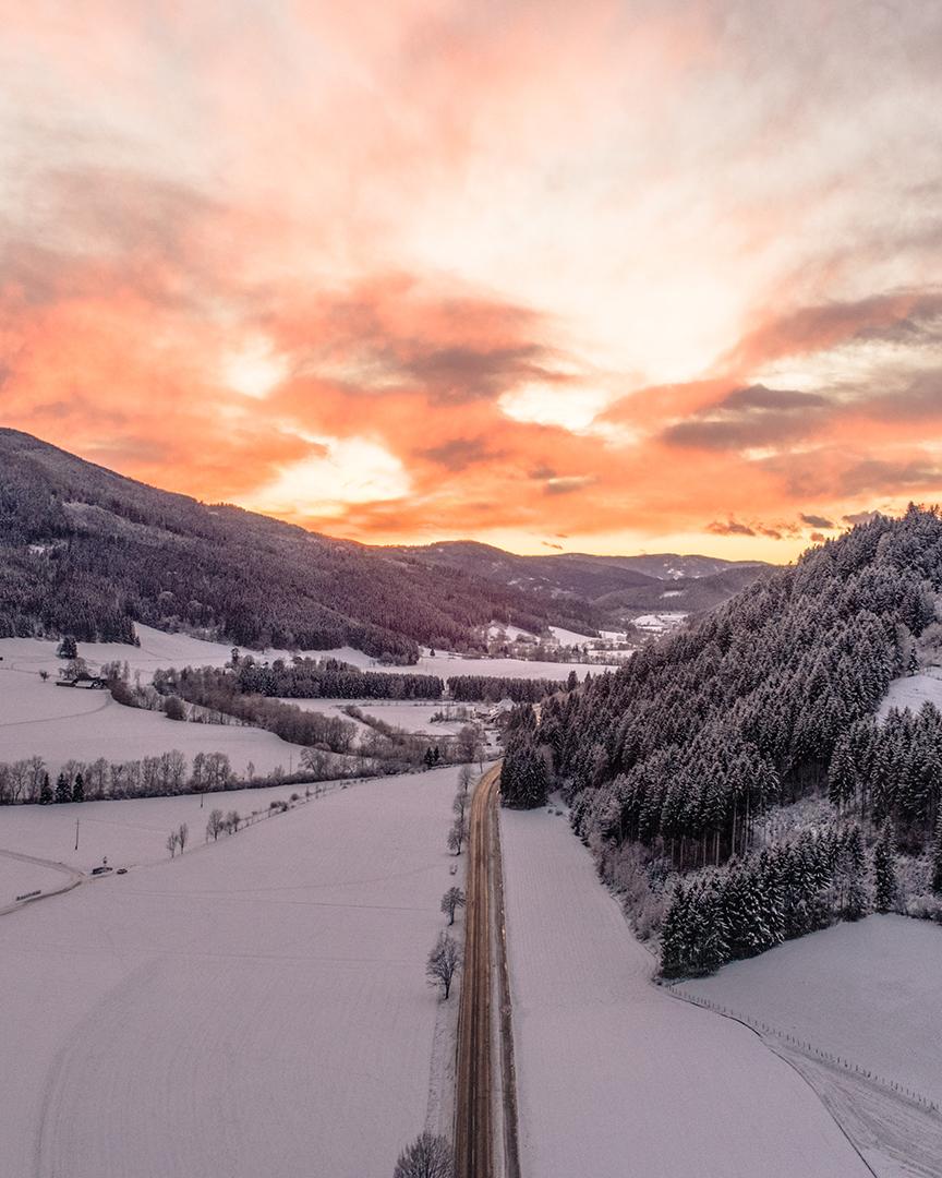 Sonnenuntergang-Strasse